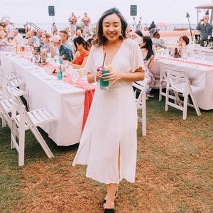 Loose boho chic white dress